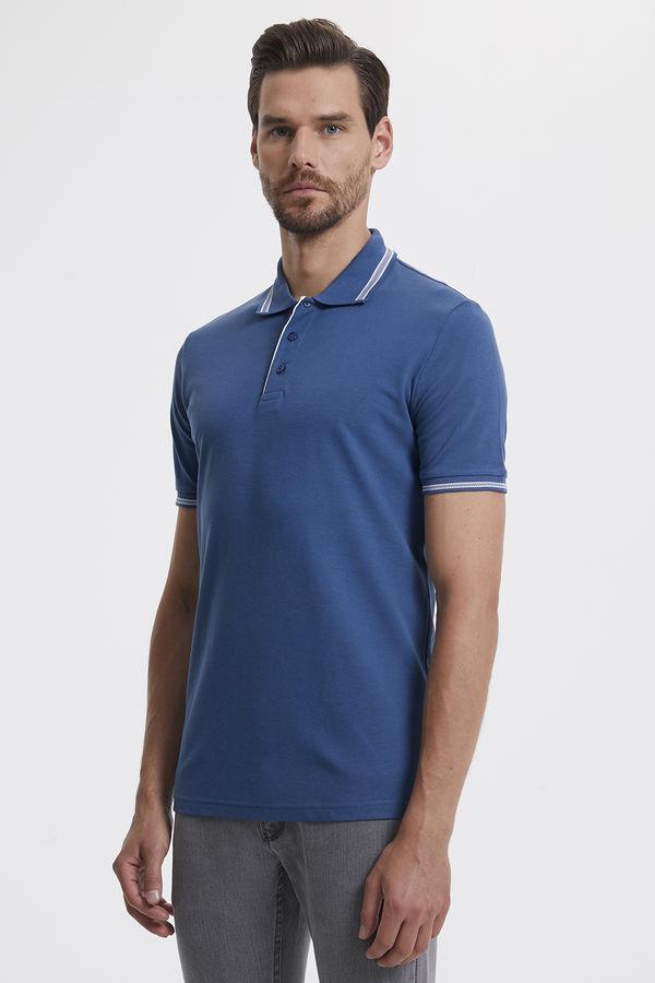 Polo Yaka İndigo Tişört
