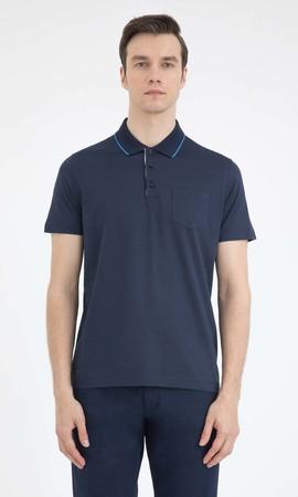 Hatemoğlu - Lacivert Polo Yaka Basic Tişört