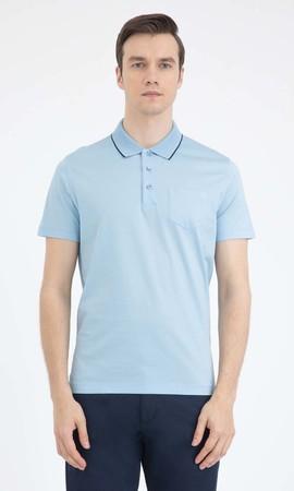 Hatemoğlu - Açık Mavi Polo Yaka Basic Tişört