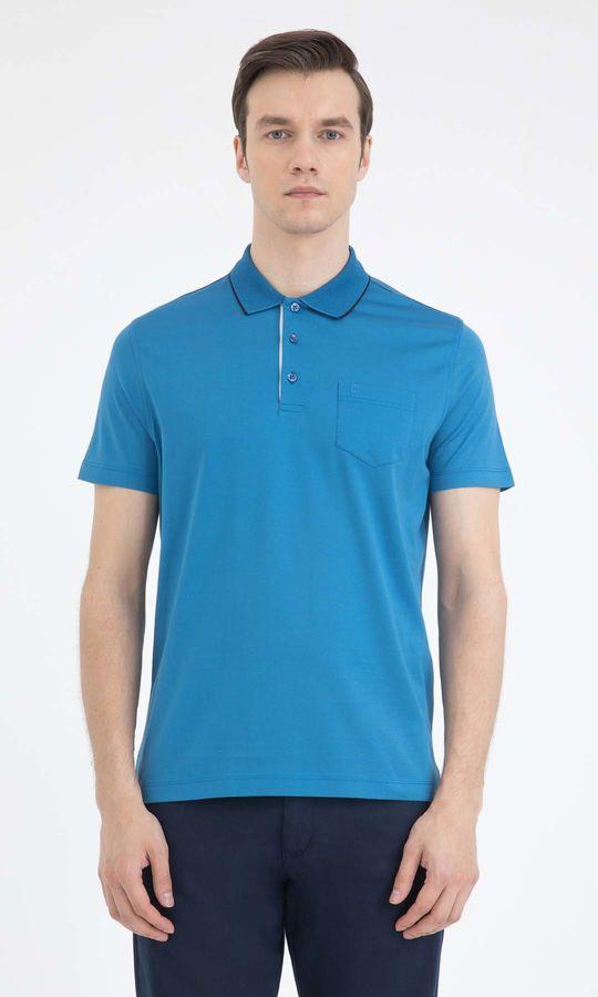 Hatemoğlu - Mavi Polo Yaka Basic Tişört