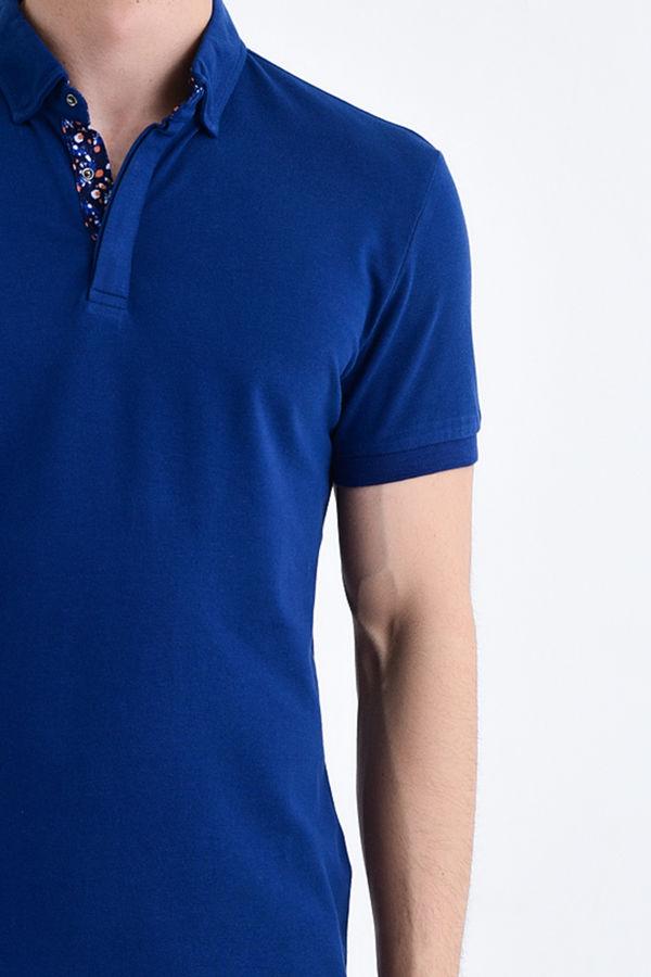 Lacivert Yaka Desenli Polo Yaka Tişört