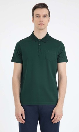 Hatemoğlu - Yeşil Polo Yaka Basic Tişört