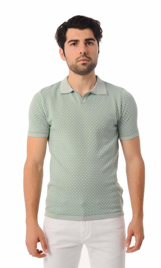 Hatem Saykı - Polo Yaka Yeşil Triko Tişört