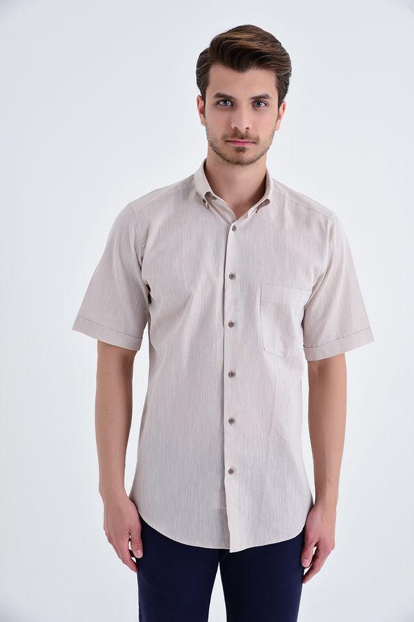 Kısa Kol Düğmeli Yaka Bej Klasik Gömlek