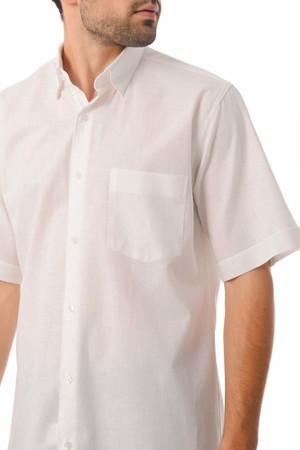 Regular Fit Kısa Kol Beyaz Gömlek - Thumbnail