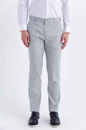Gri Regular Fit Keten Pantolon - Thumbnail