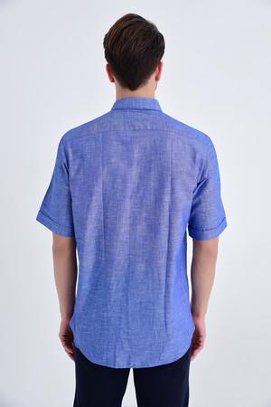 Kısa Kol Düğmeli Yaka Lacivert Klasik Gömlek - Thumbnail
