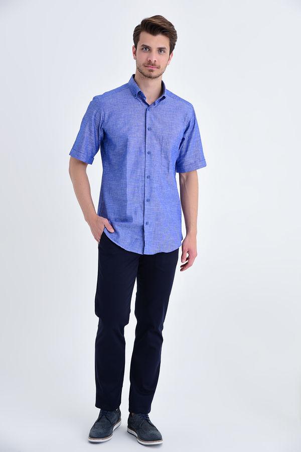 Kısa Kol Düğmeli Yaka Lacivert Klasik Gömlek