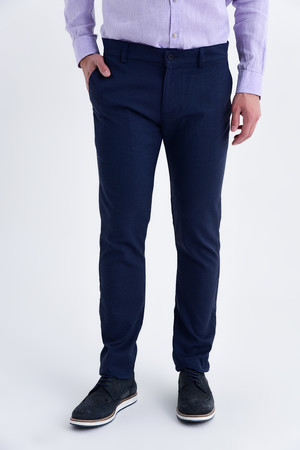 Hatemoğlu - Lacivert Regular Fit Keten Pantolon
