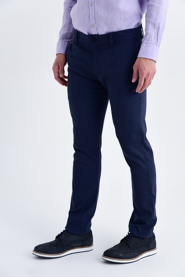 Lacivert Regular Fit Keten Pantolon