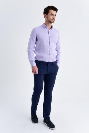 Hatemoğlu - Lacivert Regular Fit Keten Pantolon (1)