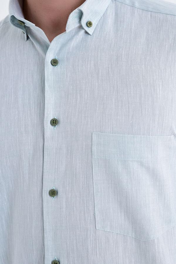 Kısa Kol Düğmeli Yaka Yeşil Klasik Gömlek