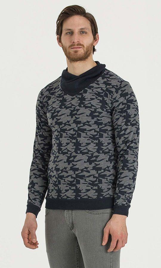 HTML - Şal Yaka Gri Sweatshirt