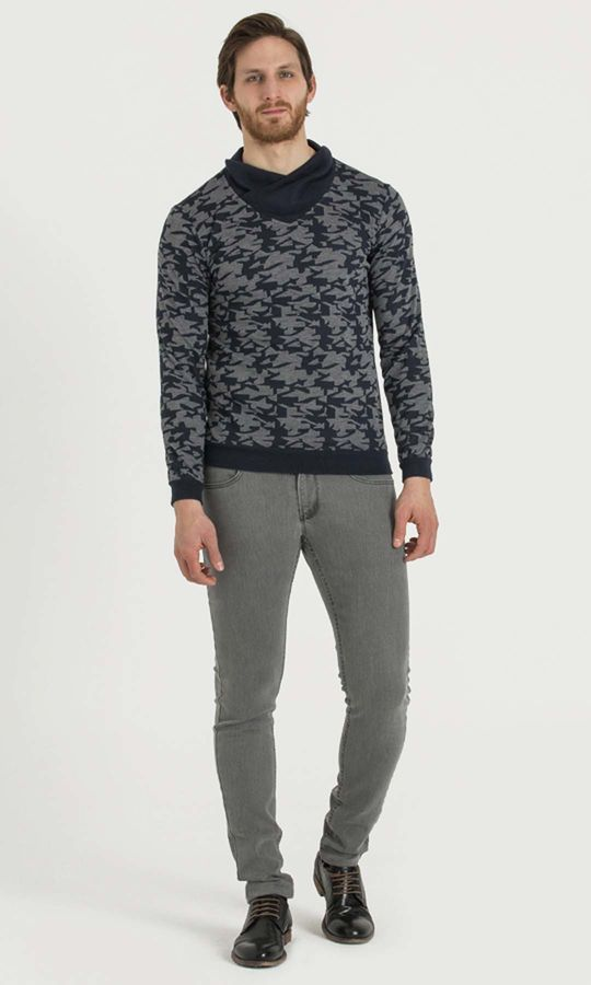 HTML - Şal Yaka Gri Sweatshirt (1)