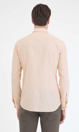 Çizgili Slim Fit Sarı Gömlek - Thumbnail
