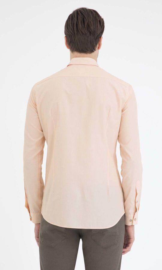 Çizgili Slim Fit Sarı Gömlek