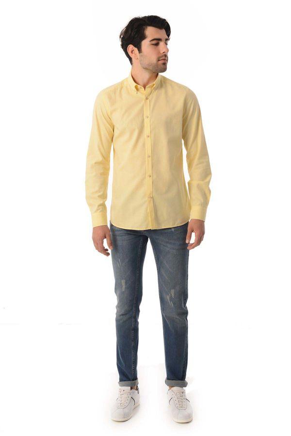HTML - Sarı Slim Fit Gömlek (1)