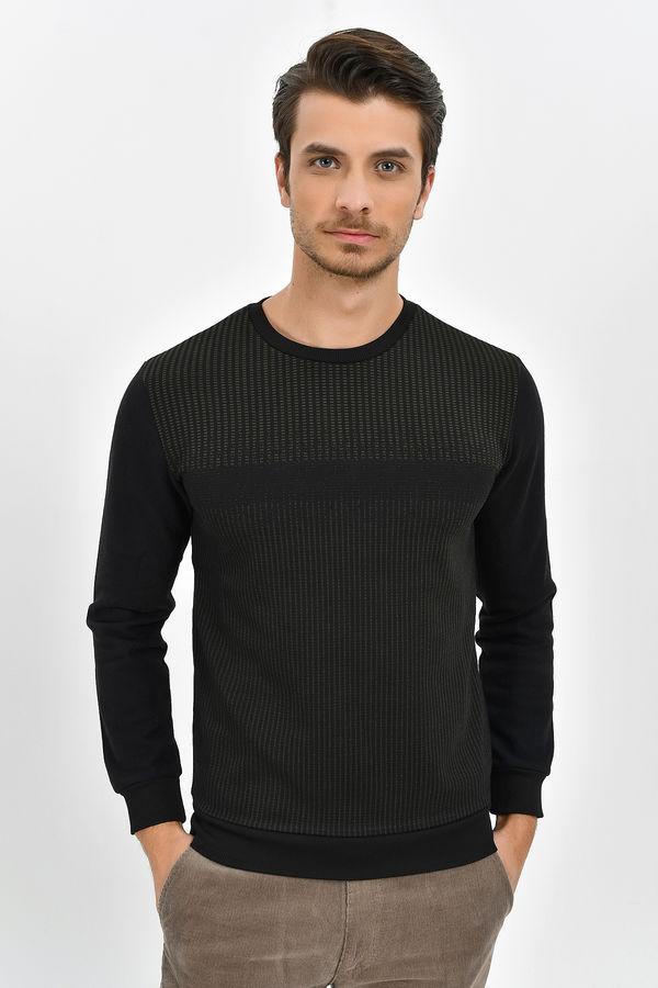 HTML - Siyah - Haki Slim Fit Sweatshirt