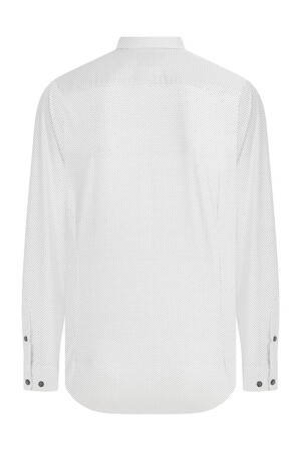 HTML - Slim Fit Desenli Beyaz Gömlek