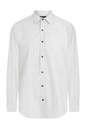 HTML - Slim Fit Desenli Beyaz Gömlek (1)