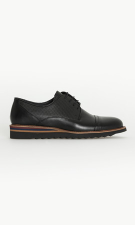 Siyah Deri Casual Ayakkabı - Thumbnail
