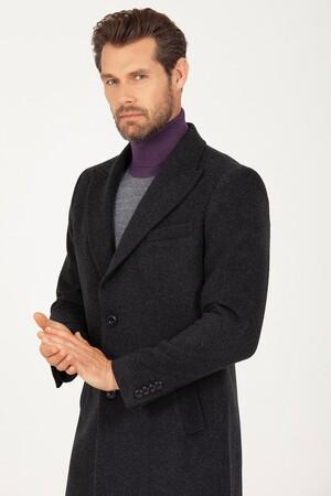 Hatem Saykı - Antrasit Kırlangıç Yaka Yünlü Palto