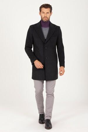 Hatem Saykı - Antrasit Kırlangıç Yaka Yünlü Palto (1)