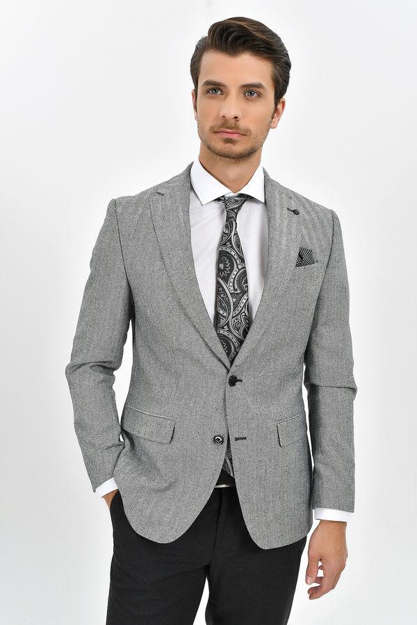 Hatem Saykı - Siyah Beyaz Slim Fit Ceket