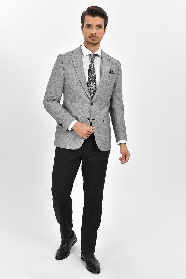Hatem Saykı - Siyah Beyaz Slim Fit Ceket (1)