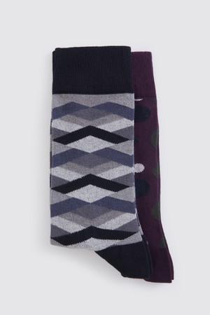 Hatem Saykı - Siyah - Bordo 2'li Çorap