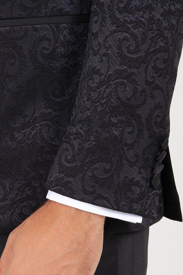 Siyah Slim Fit Sivri Yaka Desenli Damatlık