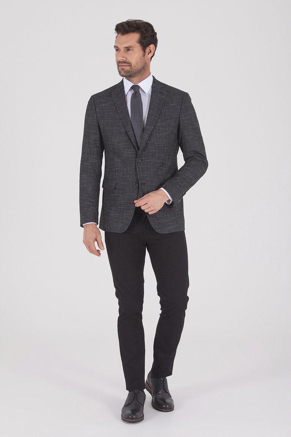 HATEMOĞLU - Siyah Desenli Slim Fit Ceket (1)