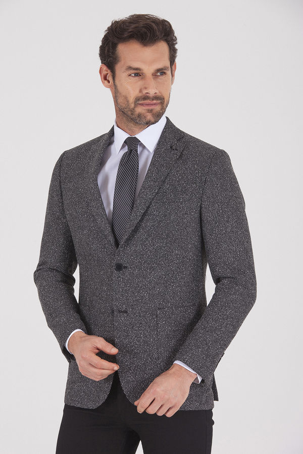 HATEMOĞLU - Siyah Desenli Slim Fit Ceket