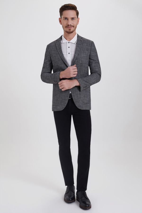 HTML - Siyah Desenli Slim Fit Ceket (1)