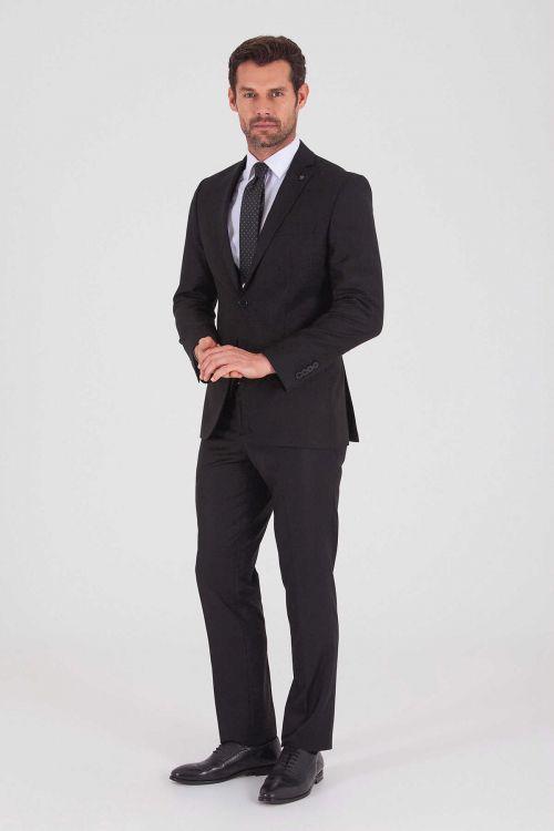 HATEMOĞLU - Siyah Desenli Slim Fit Takım Elbise
