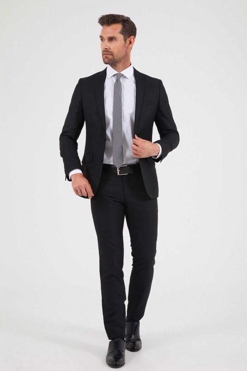 HTML - Siyah Desenli Slim Fit Takım Elbise
