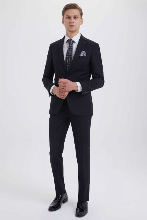 HATEM SAYKI - Siyah Desenli Slim Fit Takım Elbise