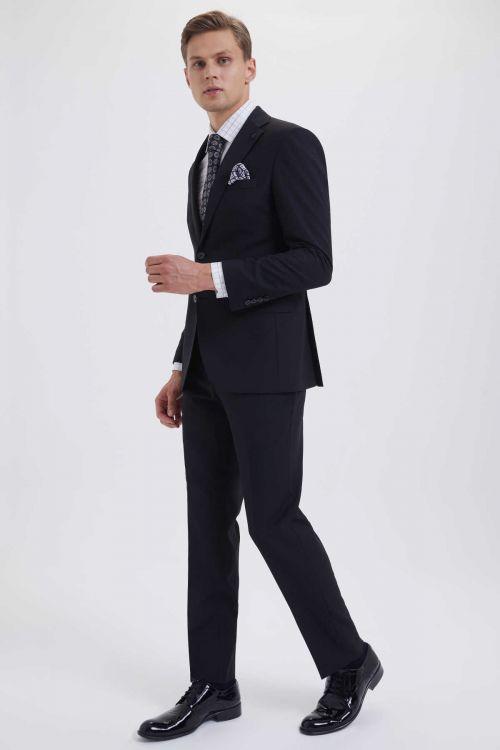 HATEM SAYKI - Siyah Desenli Slim Fit Takım Elbise (1)