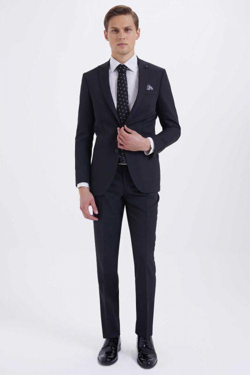 HATEMOĞLU - Siyah Desenli Slim Fit Takım Elbise (1)