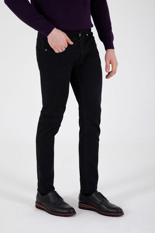 Hatem Saykı - Siyah Desenli Slim Fit Pantolon