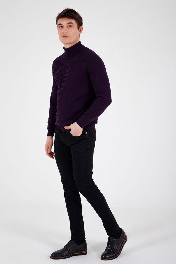 Hatem Saykı - Siyah Desenli Slim Fit Pantolon (1)