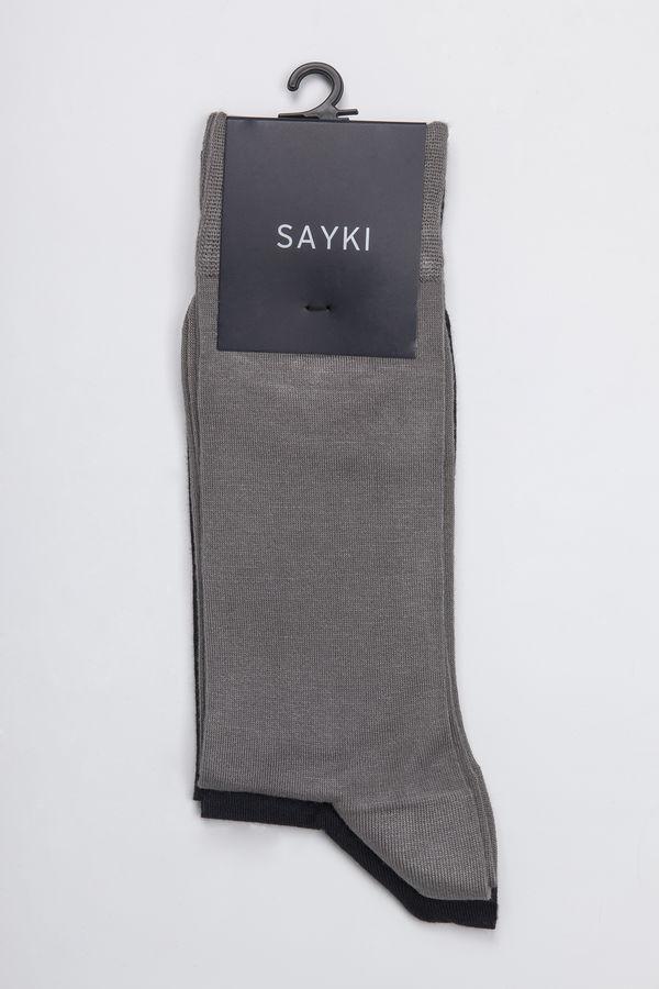 Siyah - Gri 2'li Çorap