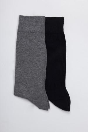 Hatem Saykı - Siyah - Gri 2'li Çorap