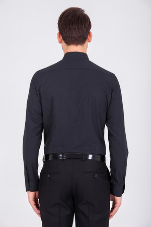 Siyah Regular Gömlek - Thumbnail