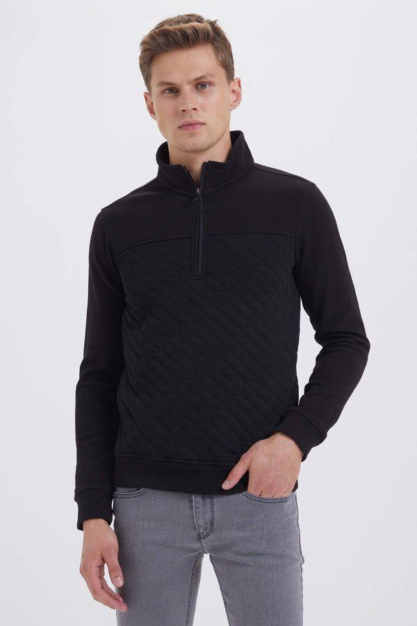 HTML - Fermuarlı Yarım Balıkçı Siyah Sweatshirt