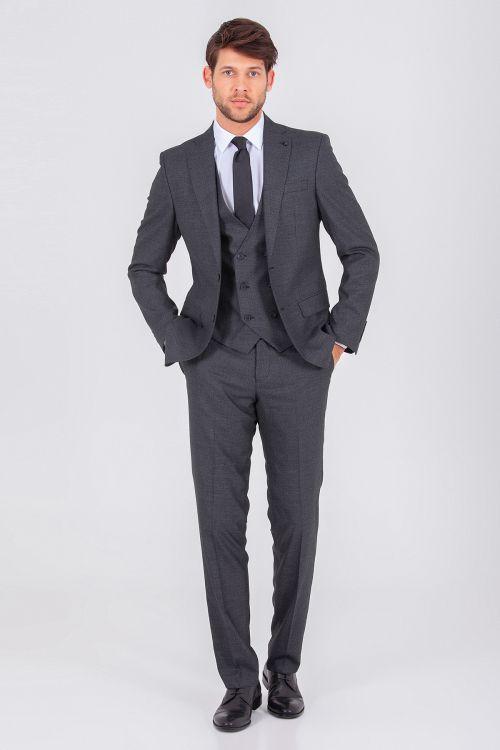 Hatem Saykı - Siyah Yelekli Slim Fit Takım Elbise
