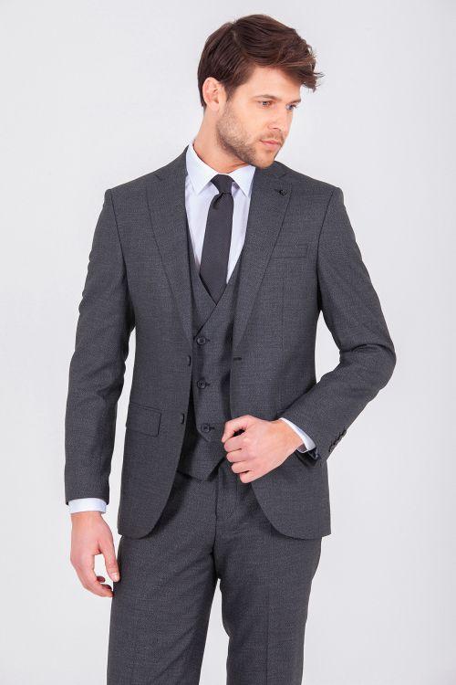 Siyah Yelekli Slim Fit Takım Elbise