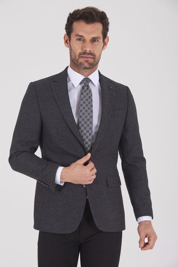 Hatem Saykı - Antrasit Slim Fit Desenli Ceket