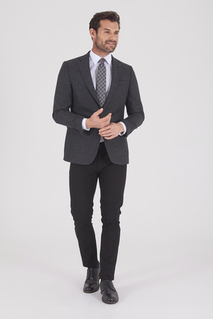 Hatem Saykı - Antrasit Slim Fit Desenli Ceket (1)
