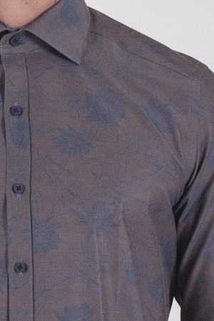 Slim Fit Baskılı Kahverengi Gömlek - Thumbnail
